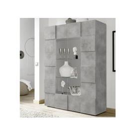 image-Aspen Wooden Display Cabinet In Concrete With 2 Doors
