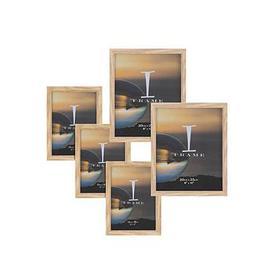 "image-""Set Of 5 Oak Finish Photo Frames - 3 X 5X7"""", 2 X 8X10"""""""