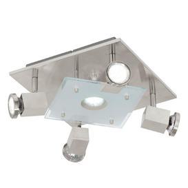 image-Eglo 93084 Pawedo 4 Light Square Flush Ceiling Spotlight In Satin Nickel
