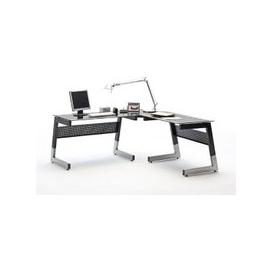 image-Mili Black And Clear Glass Corner Computer Desk With Metal Leg