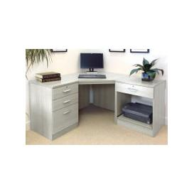 image-Small Office Corner Desk Set With 3+1 Drawers & Printer Shelf (Grey Nebraska)