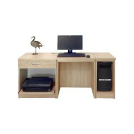 image-Small Office Desk Set With Single Drawer, Printer Shelf & CPU Unit (Sandstone)