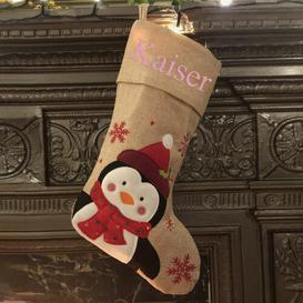 image-Penguin Personalised Christmas Stocking East Urban Home Colour: Rose Gold