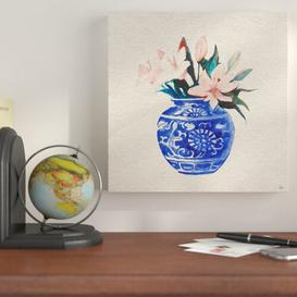 image-'Peach Flowers in Blue Vase' - Wrapped Canvas Painting Print East Urban Home Size: 30 cm H x 30 cm W x 4 cm D