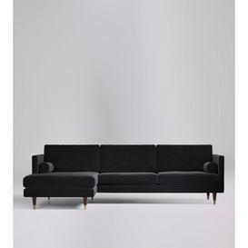 image-Swoon Porto Corner Sofa in Black Easy Velvet