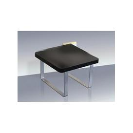 image-Roseta End Table Square In Black High Gloss With Steel Legs