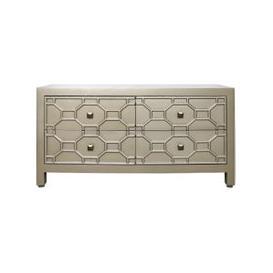 image-4 Drawer Rueben Geometric Wood Entertainment Unit Gold
