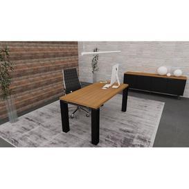 image-Francesca Writing Desk Ebern Designs Colour (Top/Frame): Canaletto Walnut/Black, Size: 75.5cm H x 180cm W x 80cm D