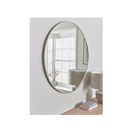 image-Antique Silver Slim Frame Round Mirror - Large