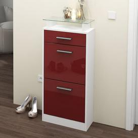 image-Loret V2 8 Pair Shoe Storage Cabinet Vladon Finish: Burgundy (glossy)/White (matt), Lighting included: Yes