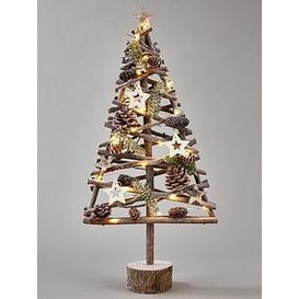 image-Lit Wood-Effect Frosty Table Top Christmas Tree