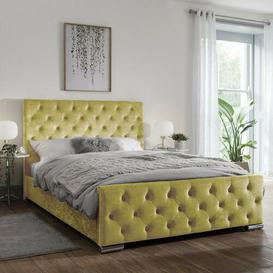 image-Gunner Upholstered Bed Frame Willa Arlo Interiors Colour: Gold Crush, Size: Kingsize (5'), Button Types: Diamente