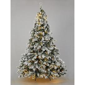 image-7Ft Flocked Pre-Lit Downswept Pine Christmas Tree