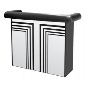image-Milo Bar Unit With Mirrored Panel With A Designer Pattern