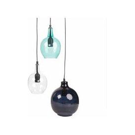 image-Blue and Transparent Glass 3-Globe Pendant