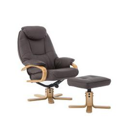 image-Pisa PU Leather Swivel Recliner Chair and Footstool Brown