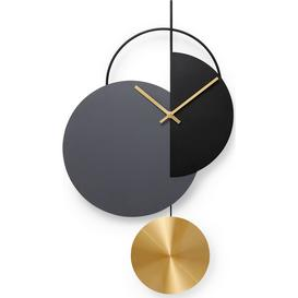 image-Levvy Pendulum Clock, Brass & Black