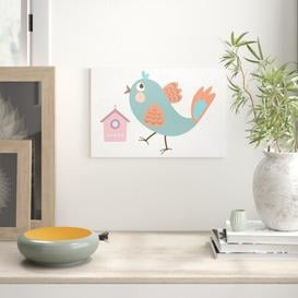 image-Cute Bird with Bird House Photograph on Canvas in Blue/Pink/Brown East Urban Home Size: 70cm H x 100cm W