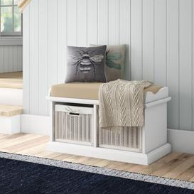 image-Bastogne Wood Storage Bench August Grove Basket Finish: White