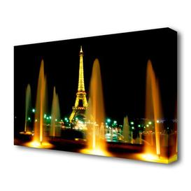 image-'Paris Eiffel Tower Water Fountain Glow' Photograph on Wrapped Canvas East Urban Home Size: 101.6 cm H x 142.2 cm W