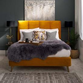 image-Daisy Velvet Bed - Mustard Daisy Bed King Mustard