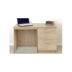 image-Small Office Desk Set With 2 Drawer Filing Cabinet, Sandstone, Free Standard Delivery