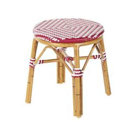 image-Professional White and Red Woven Resin Garden Stool Kafe Business
