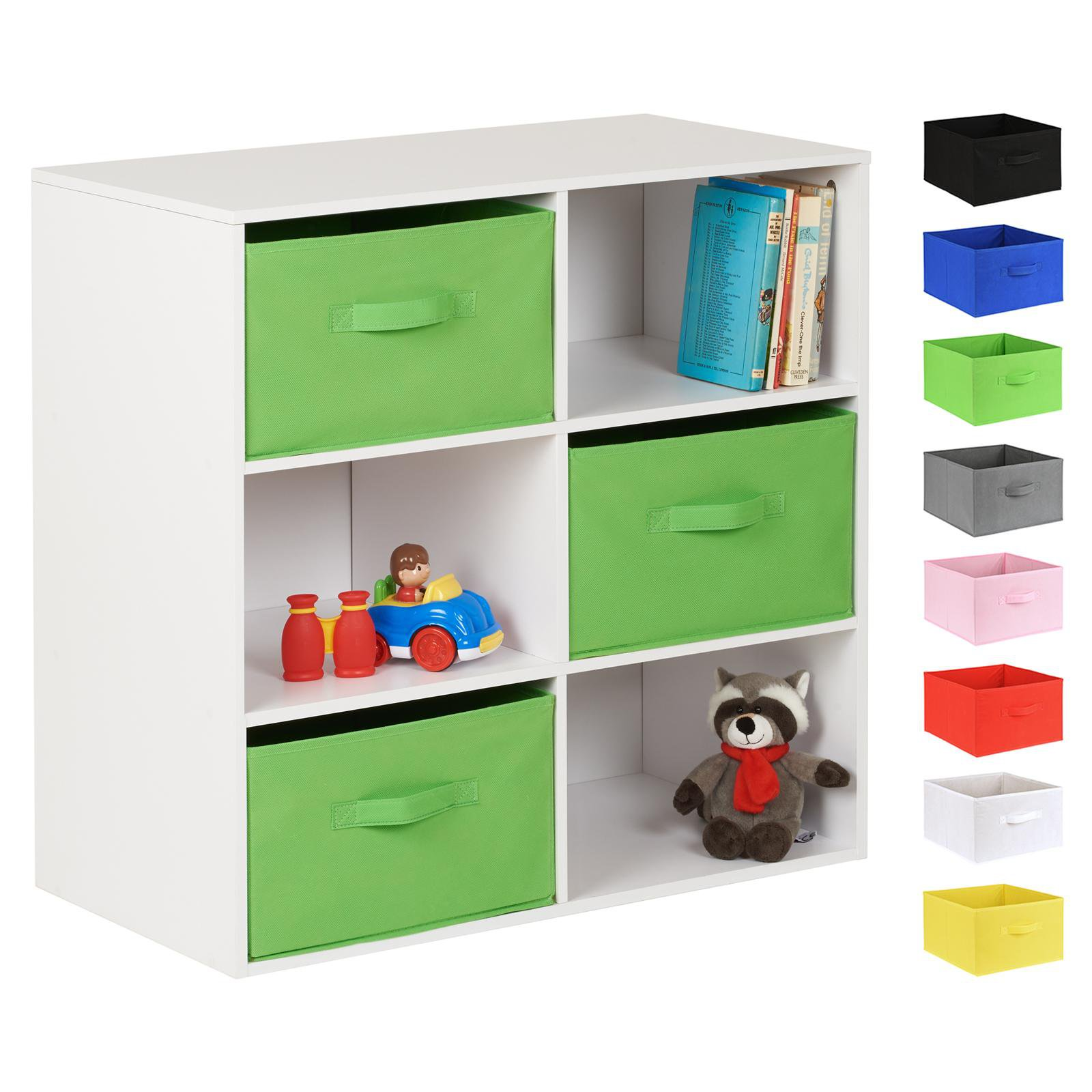 image-Hartleys White 6 Cube Kids Storage Unit & 3 Handled Box Drawers - Green