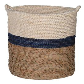 image-Navy Stripe Maize and Straw Basket