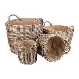 image-Retreat - Round Lined Wicker Log Basket - Set of 4