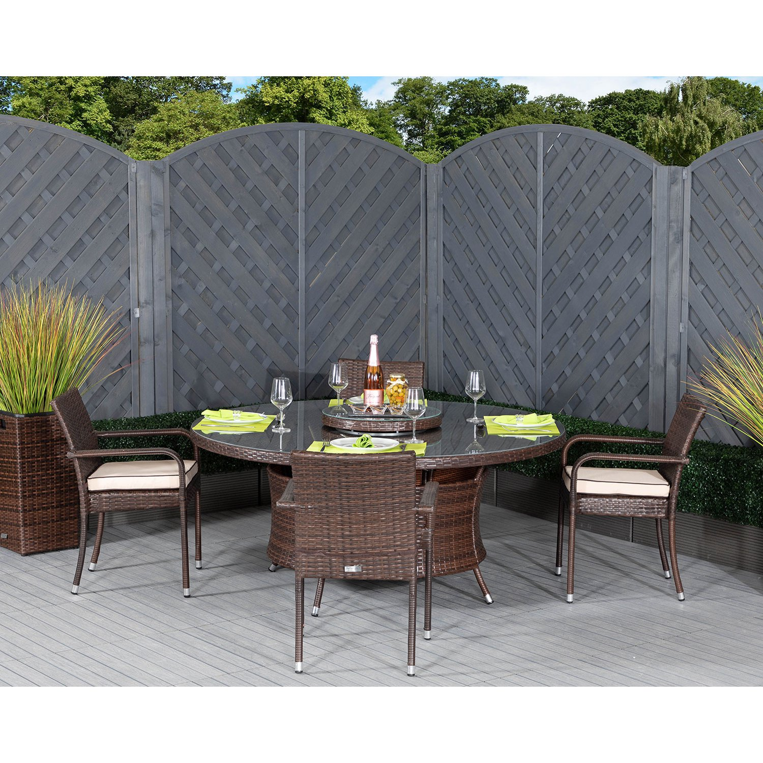 image-Roma 4 Rattan Garden Chairs, Large Round Table and Lazy Susan Set in Chocolate and Cream