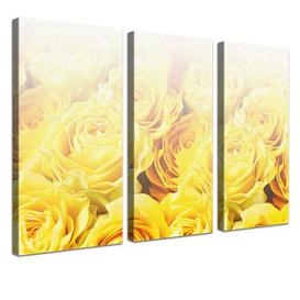 image-Bed of Roses 3 Piece Graphic Art Print Set on Canvas in Yellow East Urban Home Size: 100cm H x 150cm W x 4cm D