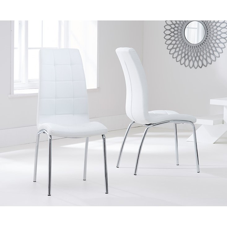 image-Calgary Ivory White Faux Leather Dining Chairs