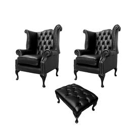 image-Chesterfield 2 x Wing Chairs + Footstool Old English Black Leather In Queen Anne Style