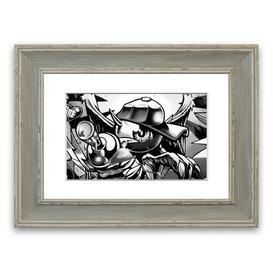 image-'Spray Can Kid' Framed Graphic Art East Urban Home Size: 93 cm H x 70 cm W, Frame Options: Blue
