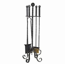 image-Perrodin 5 Piece Iron Fireplace Tool Set Rosalind Wheeler