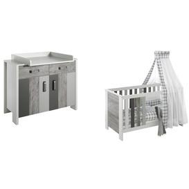 image-Woody 2 Piece Nursery Furniture Set Schardt Colour: Light grey and dark grey