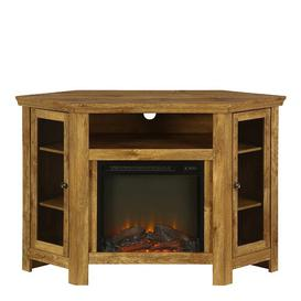 image-Rena Corner TV Stand Brick & Barrow Colour: Barnwood