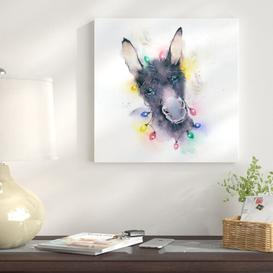 image-'Donkey Xmas Lights' by Rachel McNaaughton - Art Print East Urban Home Size: 51 cm H x 51 cm W, Format: Wrapped Canvas