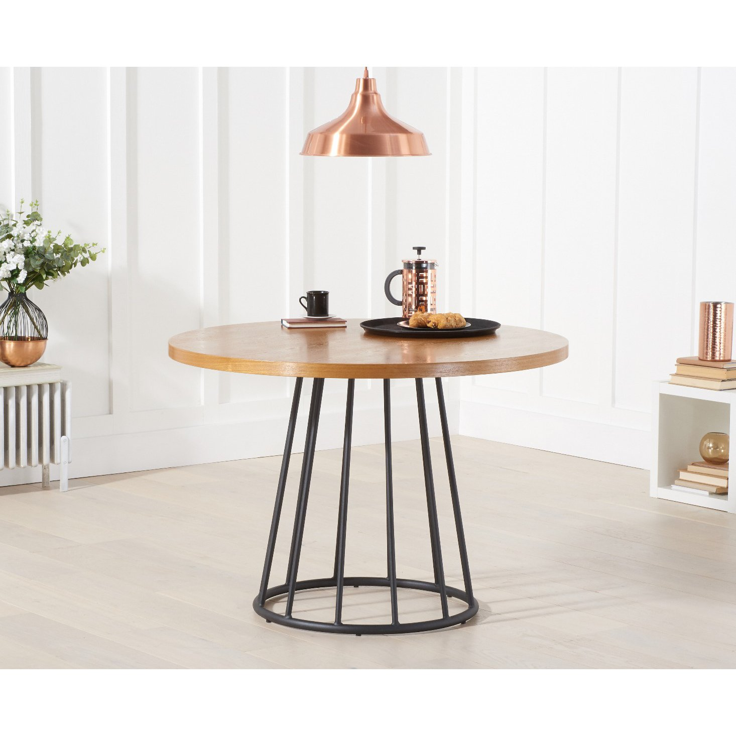 image-Hoxton 110cm Ash and Veneer Round Dining Table