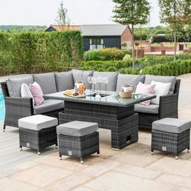 image-Maze Rattan Garden Furniture Grey Venice Ice Bucket Corner Sofa Set with Rising Table - PRE ORDER