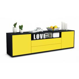 """image-Coomes TV Stand for TVs up to 42\"""" Ebern Designs Colour: Yellow / Matte Anthracite"""