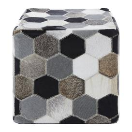 image-Degnan Leather Pouffe Union Rustic Upholstery: Black/White/Grey