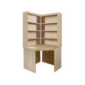 image-Small Office Corner Desk With Hutch Bookcase Set (Sandstone)