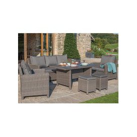 image-Kettler Palma Rattan Outdoor Casual Dining Sofa Set with Slatted Table