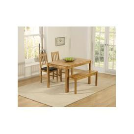 image-Mark Harris Promo Solid Oak Dining Set - 120cm with 2 Brown Chairs and Bench