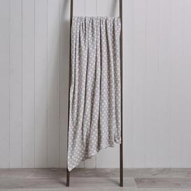 image-Spot Printed Fleece 130cm x 170cm Throw Grey and White