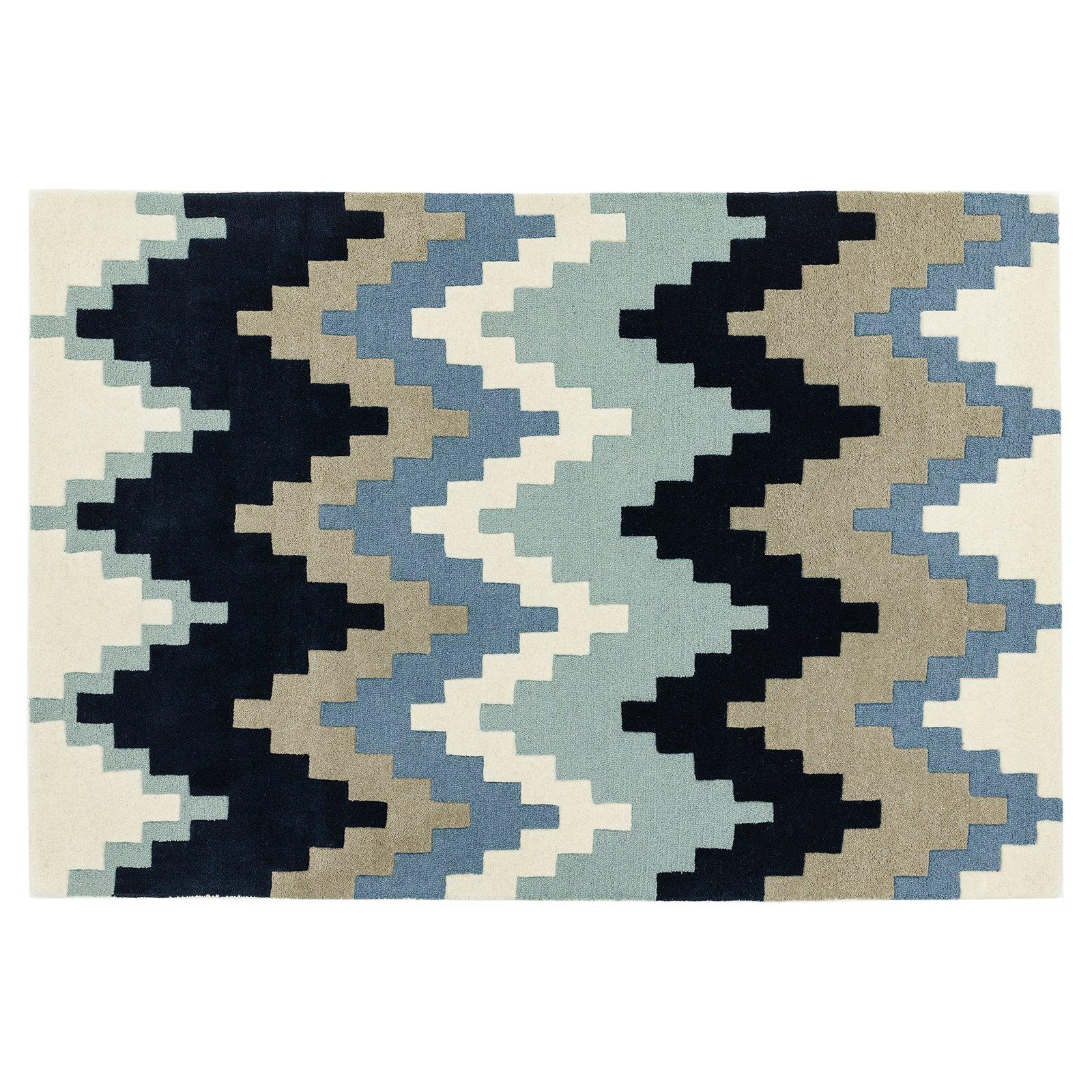 image-Guzzo Wool Rug, 80X150 cm, Blue