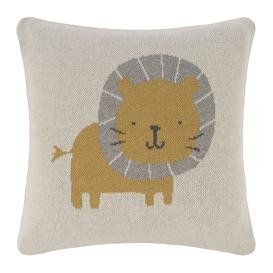 image-Retreat - Animal Knitted Cushion - 40x40cm - Lion