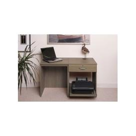 image-Small Office Desk Set With Single Drawer & Printer Shelf (English Oak)